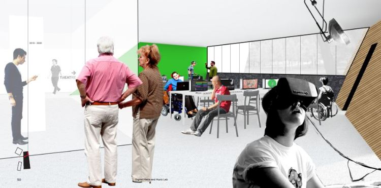 Architectural rendering of the new Digital Media + Music Lab