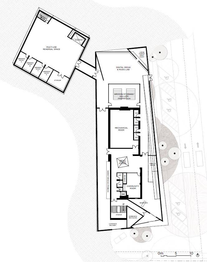 Floor plan of the lower level of the National accessArts Centre